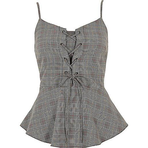 Grey check lace-up frill hem cami top