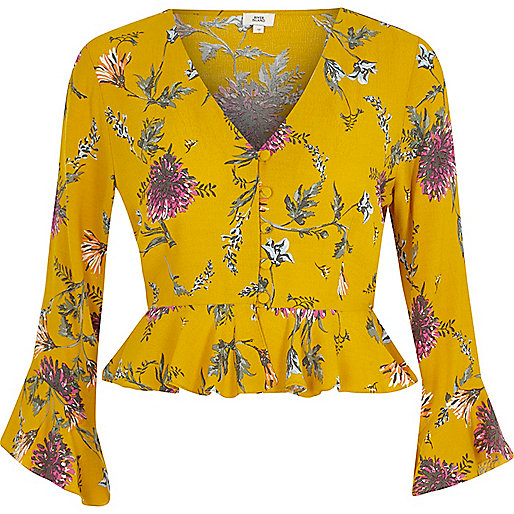 Yellow floral frill long sleeve crop top