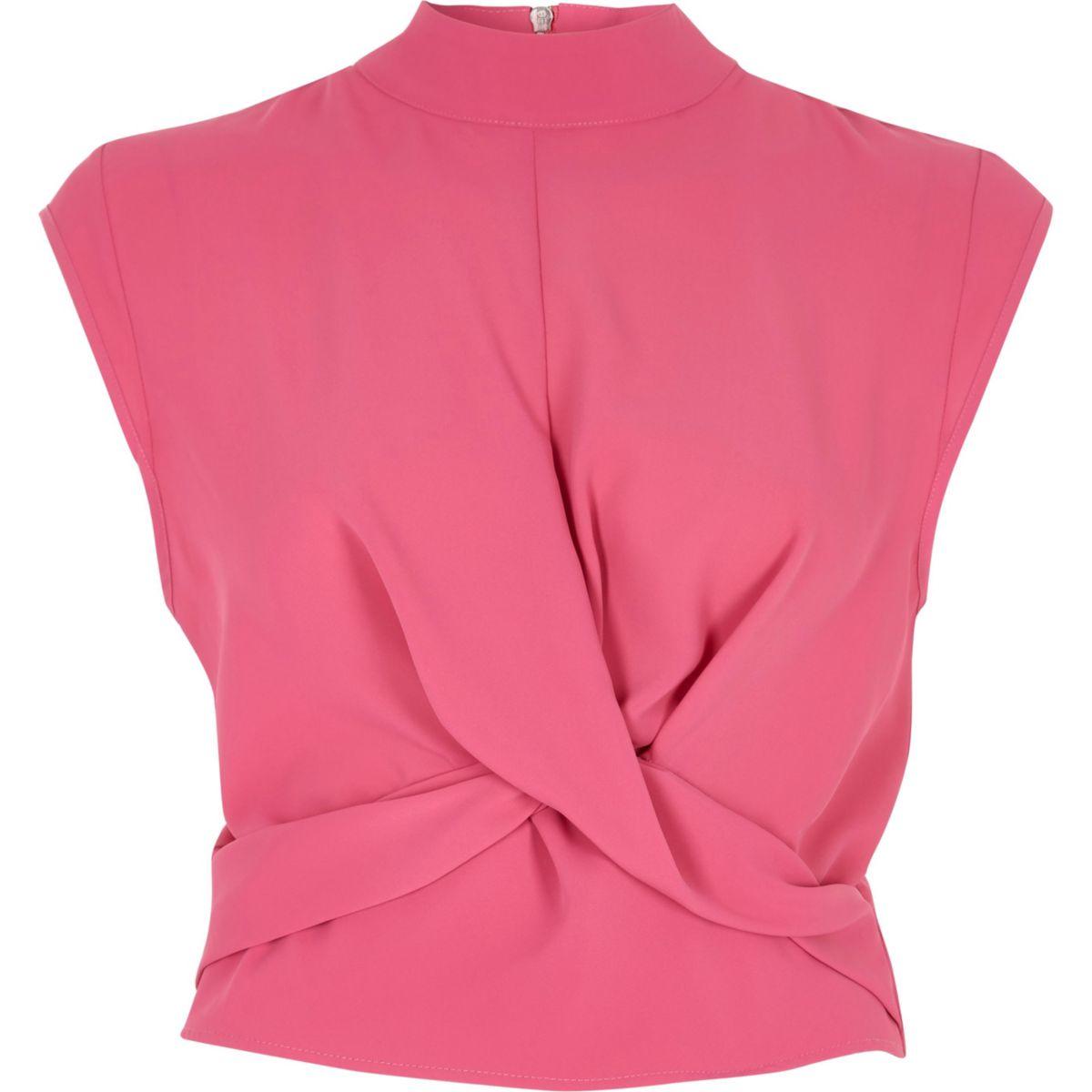 Bright pink twist front high neck crop top