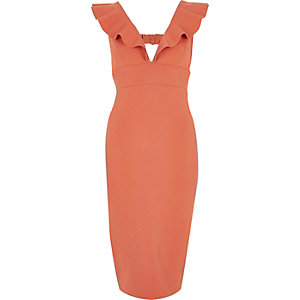 Dark pink frill shoulder plunge bodycon dress