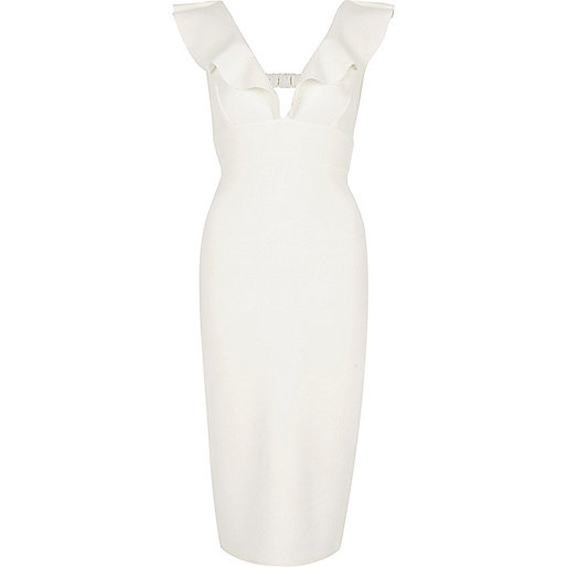 Cream frill shoulder plunge bodycon dress