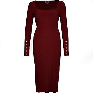 Dark red rib long sleeve bodycon dress