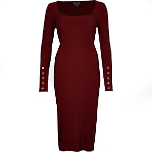 Dark red rib long sleeve bodycon dress