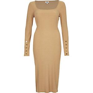 Dunkelbeiges, langärmliges Bodycon-Kleid