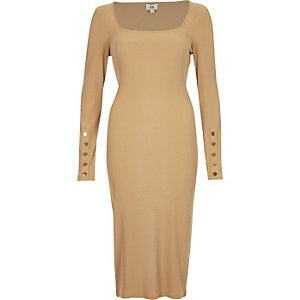 Dark beige rib long sleeve bodycon dress