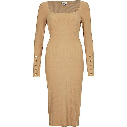 Dark beige rib long sleeve bodycon dress