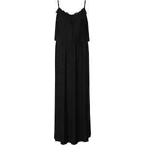 Robe longue noire plissée à empiècements en dentelle et fines bretelles