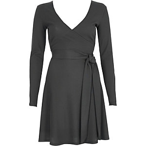 Dark grey rib ballet wrap long sleeve dress