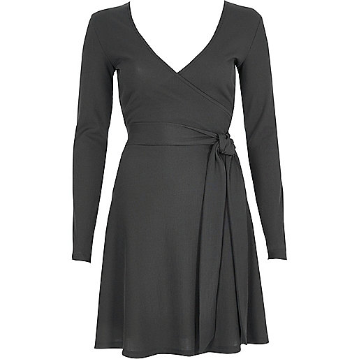 Dark grey rib ballet wrap long sleeve dress