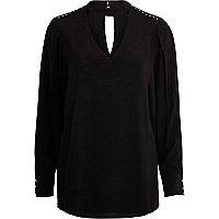 Black choker neck long sleeve blouse