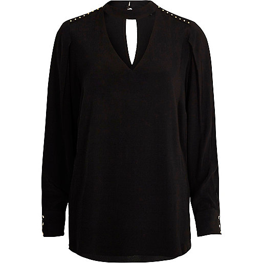 Black choker neck long sleeve blouse