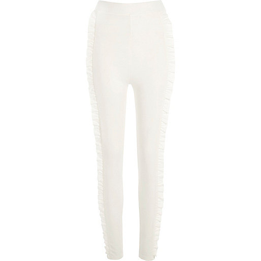 Cream frill side ponte leggings