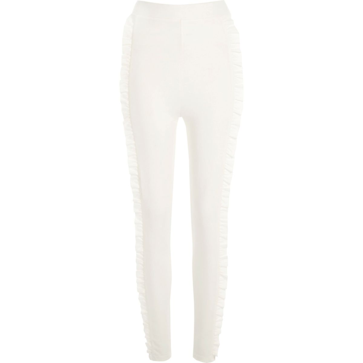 Cream frill side ponte leggings