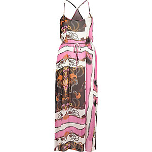 Pink chain print maxi slip dress