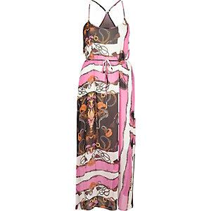 Pink chain print maxi slip dress