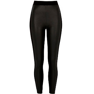 Black faux leather coated front leggings