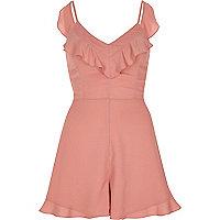 Pink frill tie back cami romper