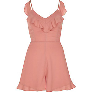 Pink frill tie back cami romper