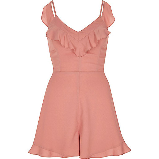 Pink frill tie back cami playsuit