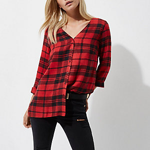 Petite red check cross back shirt
