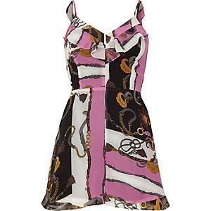 Combi-short imprimé foulard noir et rose à volants