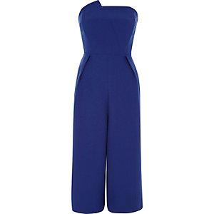 Kobaltblauwe bandeau jumpsuit met broekrok