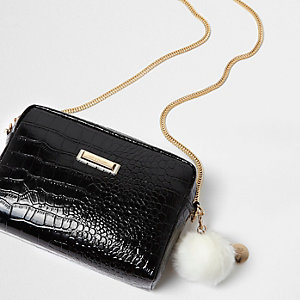 Black patent croc cross body chain bag