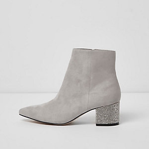Grey pointed toe glitter block heel boots