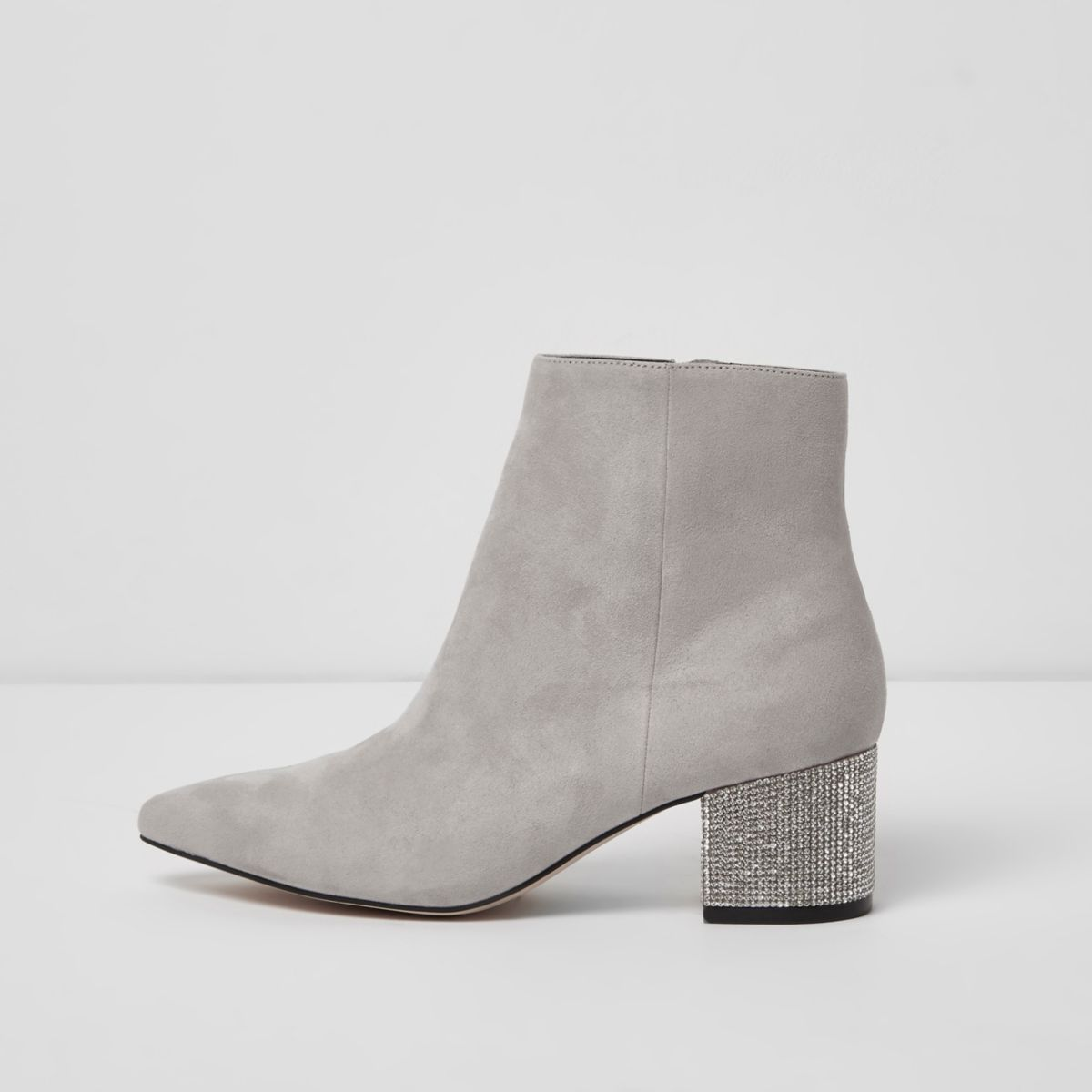 Grey pointed toe glitter block heel boots