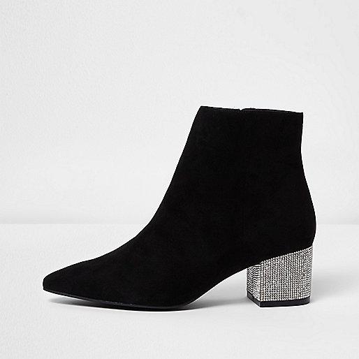 Black pointed embellished block heel boots