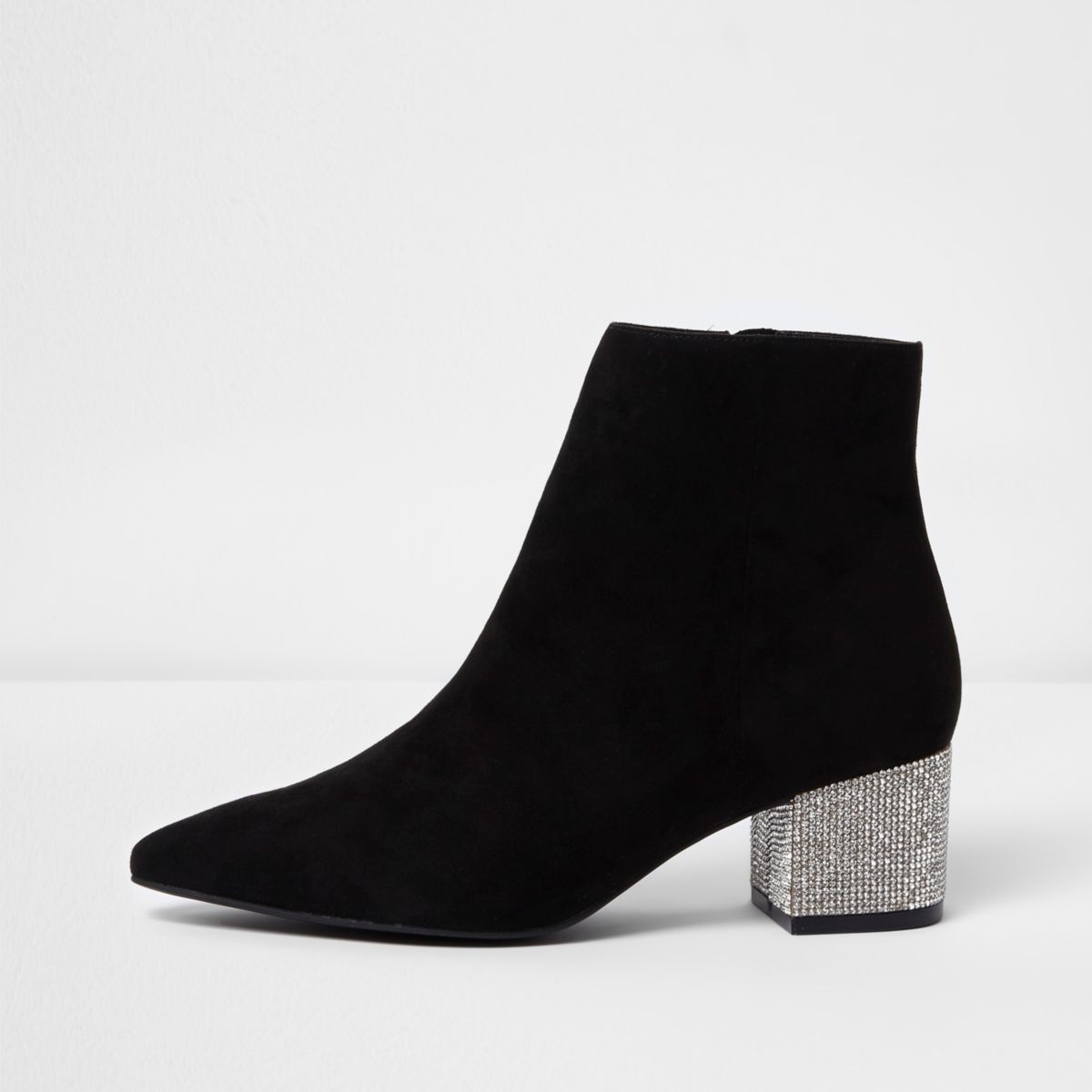 Black pointed embellished block heel boots