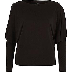 Black dolman split sleeve top