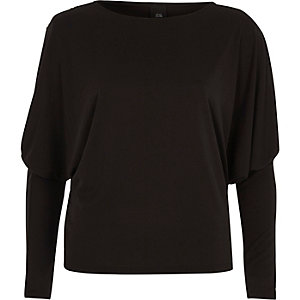 Black dolman split sleeve top