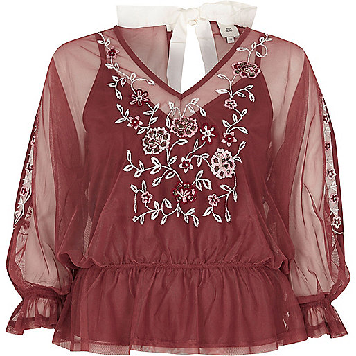 Dark pink mesh floral embroidered top
