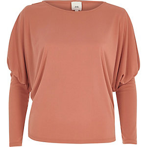 Pink split dolman sleeve top