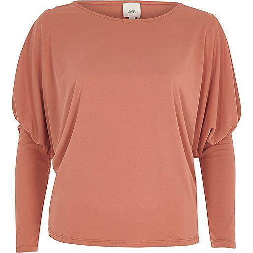 Pink split dolman sleeve top