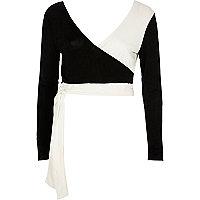 Black mono wrap tie ballet crop top