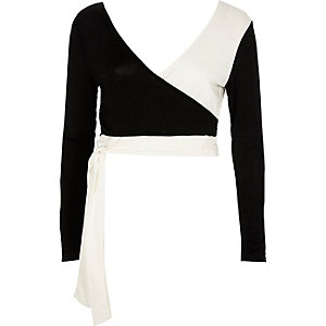Black mono wrap tie ballet crop top