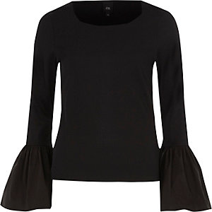 Black ribbed flared poplin cuff top