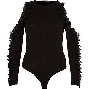Body en mousseline noir à épaules dénudées et volants