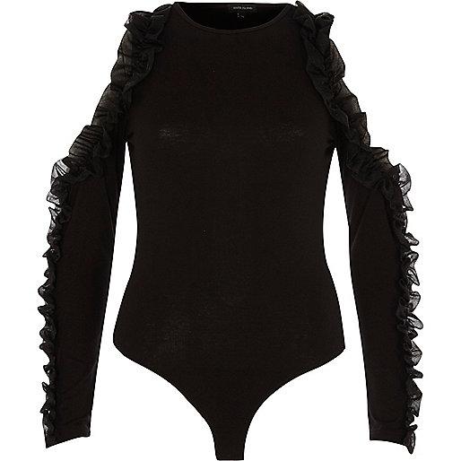 Black chiffon ruffle cold shoulder bodysuit