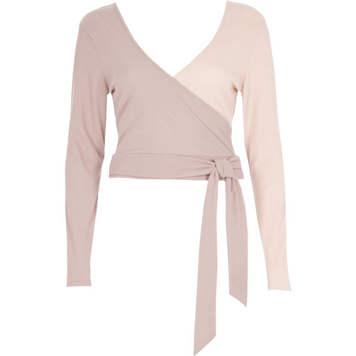Pink wrap tie ballet crop top