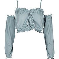 Light blue ruffle long sleeve bardot crop top