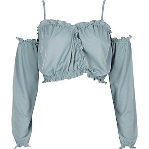 Crop top Bardot bleu clair à manches longues et volants