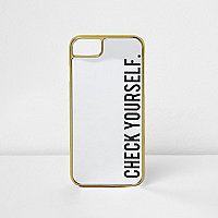Black 'check yourself' mirrored phone case
