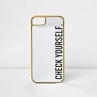 Zwarte 'check yourself' spiegelende telefoonhoes