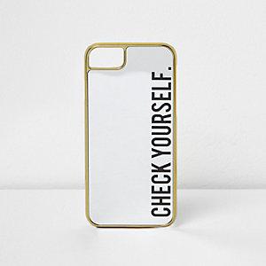 Coque pour téléphone noire à miroir «Check yourself»