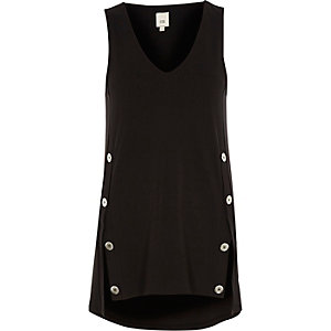 Black split button sleeveless top