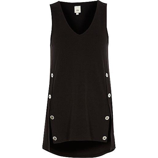 Black split button sleeveless top