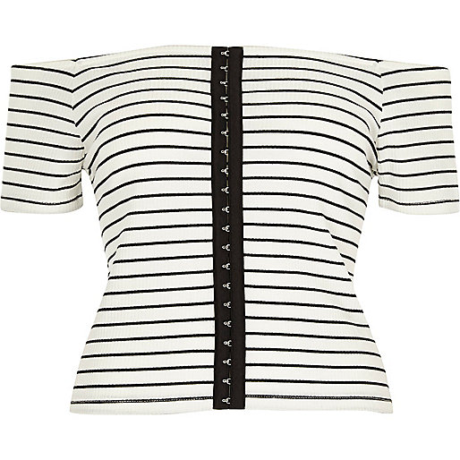 White stripe bardot hook and eye top